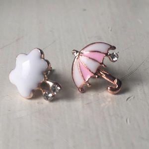 aef8058856530 Betsey Johnson Umbrella Rain Cloud Stud Earrings NWT